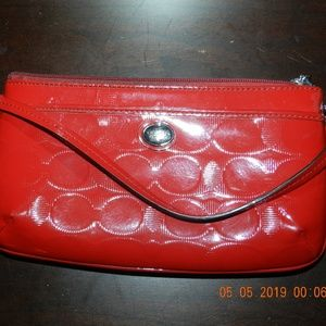 Coach Red Shiny Wallet with Wrist Strap